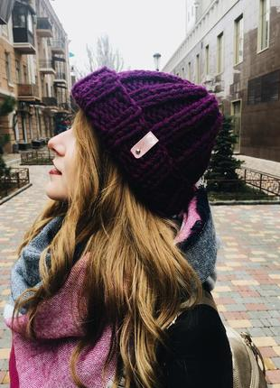 Сливовая вязанная тёплая зимняя шапка, повязка на голову, шапочка