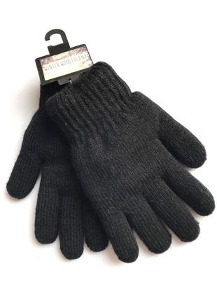 Очень теплые трикотажные подростковые перчатки на подкладке травка, c&a, 8-15 лет.