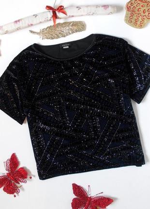 Укороченная футболка с блестками бархатная кроп топ короткая блуза