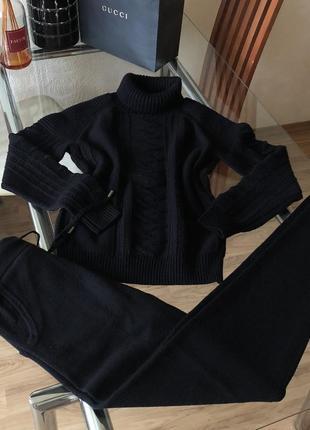 Кашемировый трикотажный вязаный костюм чёрный