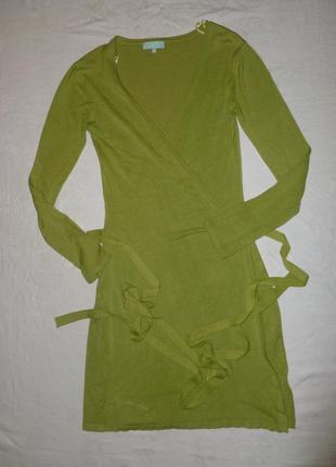 Кардиган платье на запах теплый трикотаж яркое салатовое qed london