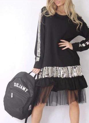 Платье паетка с сеткой норма и ботал