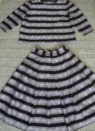 Нарядный костюм юбка в склады и кофточка handmade