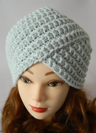 Шикарная шапка-чалма вязаный тюрбан серого цвета 100% hand made