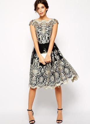 Черное золотистое пышное платье кружево премиум нарядное asos вечернее