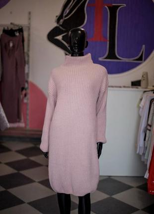 Большая расспродажа!!! нереальное вязаное платье оверсайз с люрексом пудра от sewel