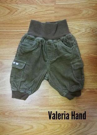 Мягкие вельветовые брюки - штаны на трикотажной подкладке h&m - возраст 0-3 месяца