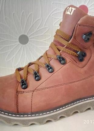 Мужские кожаные зимние ботинки cat expensive fox