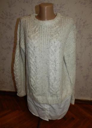 Primark свитер стильный модный с рубашкой обманкой р12