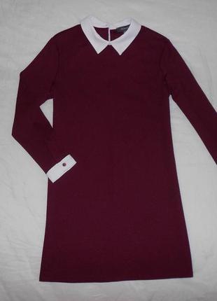 Primark бордовое платье с белым воротником и манжетами, р.36, s-ка