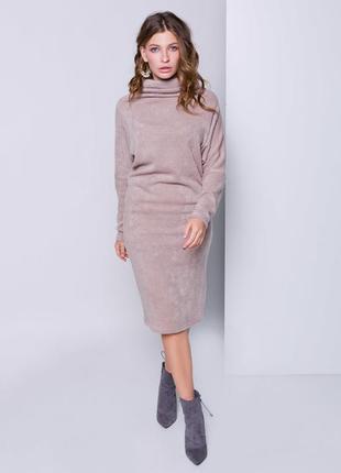 Теплое платье гольф миди