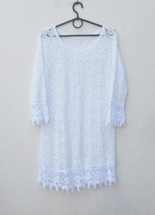 Белое сексуальное летнее кружевное платье туника пляжная