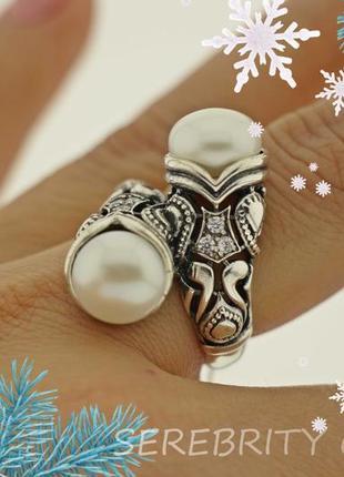 10% скидка - подписчикам! кольцо серебряное с жемчугом размер 17. i 100683 w 17