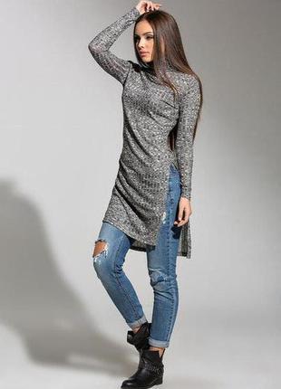 Стильная туника-платье в рубчик с разрезами по бокам,кофта меланж,базовое платье гольф