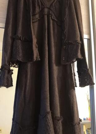 Studio iko by waltex костюм тёплый, ажурный сарафан и кофта, мохер. италия.
