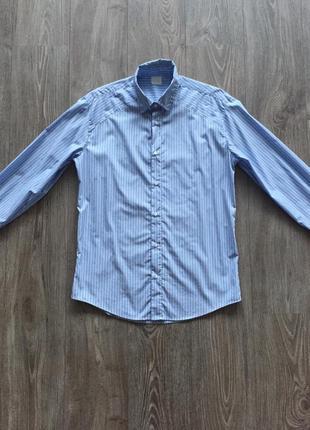 Рубашка мужская голубая в полоску, 42, slim-fit {слим-фит}, хлопок, классическая, офисная