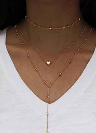 Тройная цепочка чокер с подвеской сердце под золото