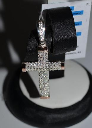 Серебряный крестик с золотыми пластинами silver style