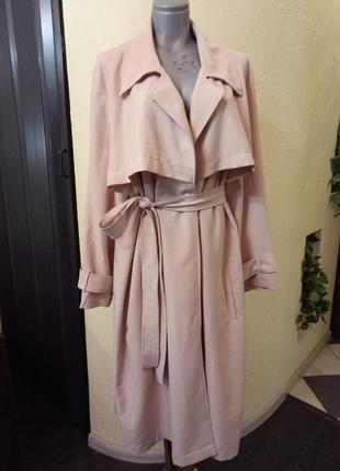 Легкое пудровое пальто,тренч,большой   размер
