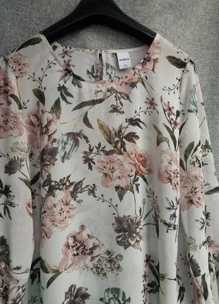 Красивая блуза рубашка рукав клеш,легкая летняя блузка в цветочный принт,шифоновая блуза