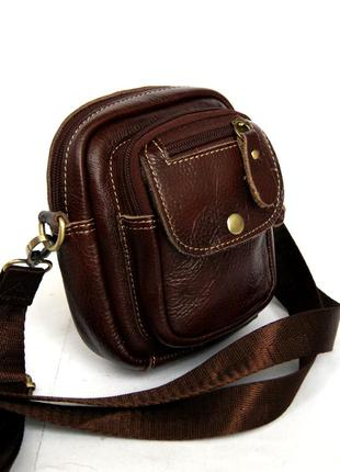 Компактная мужская кожаная сумка через плечо и на пояс