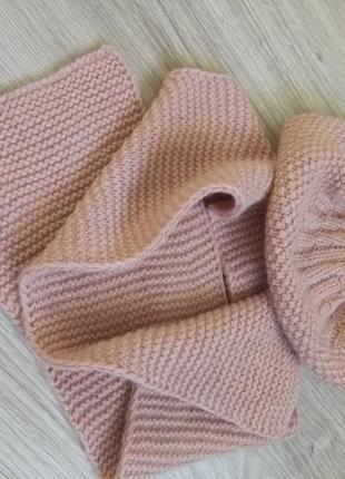 Подписчикам скидка - 10%! набор вязаная шапка на большой объем головы и шарфик