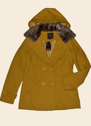 Шерстяное пальто классического кроя горчичного цвета groggy by jbc