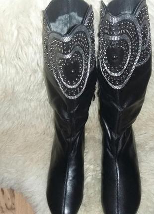 Натуральные кожаные сапоги зимние.4 фото