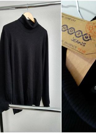 Новый мужской свитер шерстяной чёрный