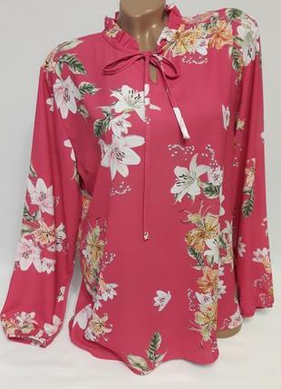 Цвета фуксии блуза с цветочным принтом