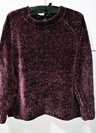 Шикарный плюшевый/велюровый свитер цвета марсала фирмы george
