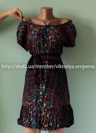 Большой выбор платьев - вискозное платье миди открытые плечи рюша бохо
