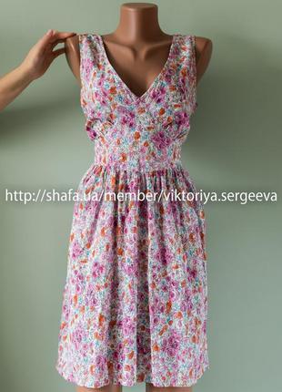 Большой выбор платьев - безумно легкое платье миди в цветы хлопок