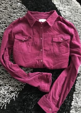 Рубашка велюровая вельветовая бархатная сиреневая