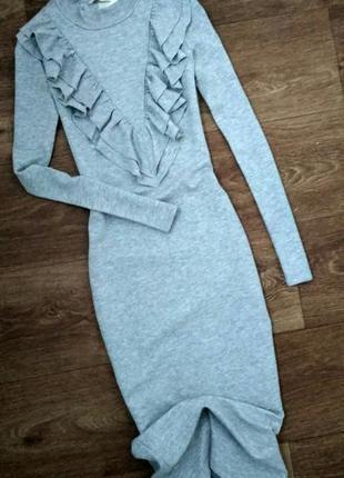 550грн! платье гольф серое миди с воланами оборками h&m