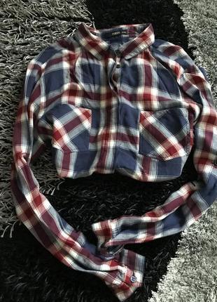Рубашка в клетку синяя красная модная актуально