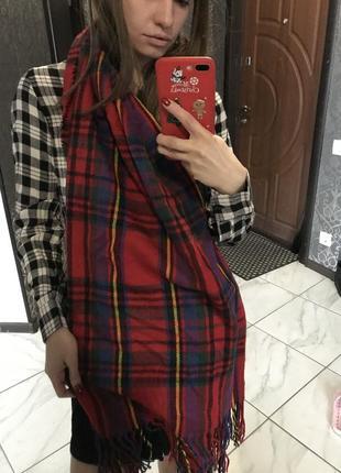 Фланелевый шарф теплый байка красный в клетку