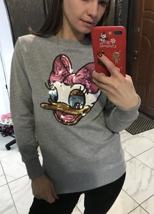 Свитшот свитер серый в паетки стильный актуально с поночкой