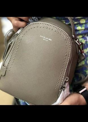 Стильный клатч-рюкзак david jones 5806-2 taupe (серо-коричневый/хаки)