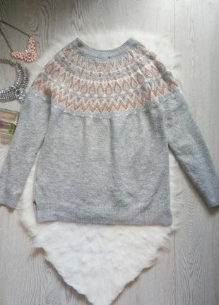Серый вязаный свитер с бронзовыми блестками на воротнике кофта теплая вязаная блестящая