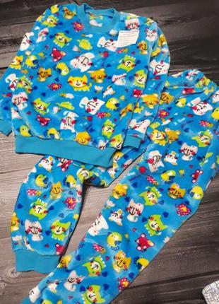 Плюшевая махровая пижама котики