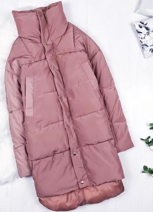 Крутий оверсайз пуховик кокон \ пудровый зимний пуховик куртка пальто оверсайз boohoo