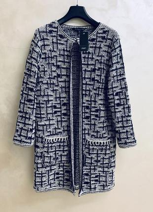 Кардиган пальто f&f черный белый в стиле chanel оригинал теплый осенний зимний зима