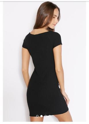 Фактурное мини платье маленькое черное по фигуре в обтяжку в рубчик xs s m mango