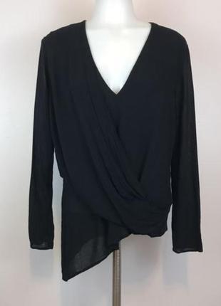Блуза асимметричный крой лонгслив с драпировкой на запах zara oversize xs s