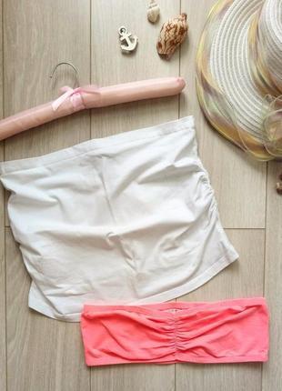 Набор из 2-х бандо: коралловый бюстгальтер, лиф + белый топ