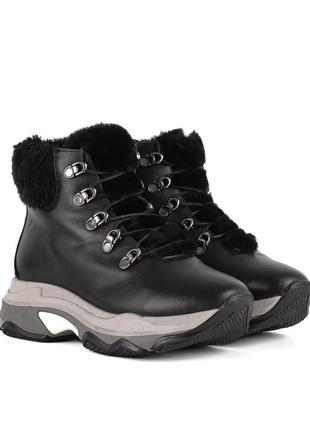 383цз женские ботинки alpino,кожаные,на шнурках,на низком ходу,на толстой подошве