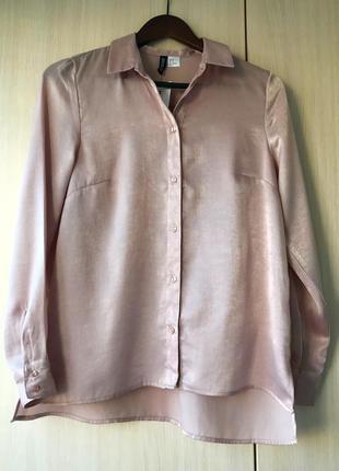 Нарядная блуза-рубашка h&m, m, цвет дымчатый розовый