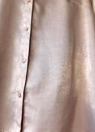 Нарядная блуза-рубашка h&m, m, цвет дымчатый розовый3