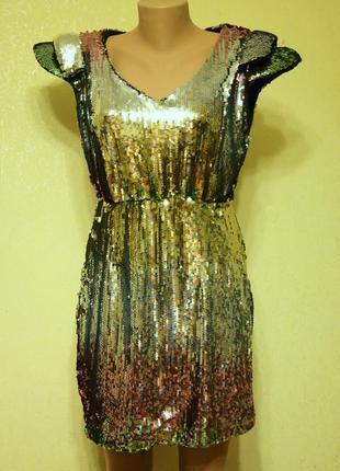 Платье в пайетки разноцветное